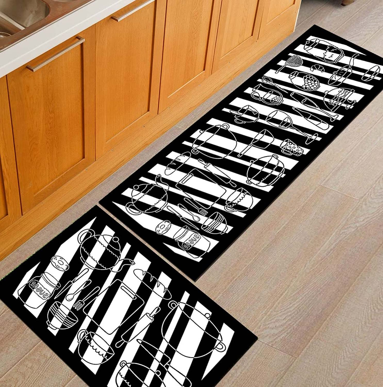 Indoor Outdoor 2PCS Doormat Entrance Welcome Mat Absorbent Runner Inserts Non Slip Entry Rug Funny Black and White Kitchenware, Home Decor Inside shoes Scraper Floor Carpet 19 x31  19 x62