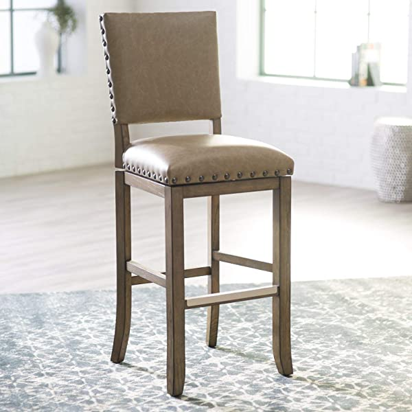 Home Collection Contemporary Transitional Taupe Bonded Leather Swivel Counter Stool With Back Seat 26 Inch Seat Height