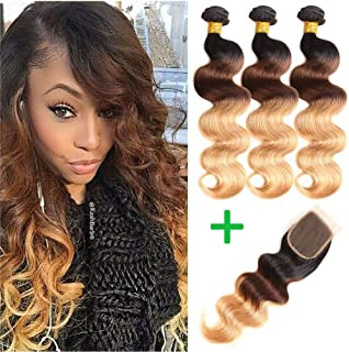 Ombre Brazilian Hair Body Wave 3 Tone Ombre Bundles Human Hair, 3 Ombre Hair Bundles With Closure Ombre Body Wave Ombre Bundles (T1B/4/27,20 22 24+18)