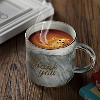 Ylyycc Thank You Ceramic Coffee Mugs Thanksgiving Christmas Gift for Mom and Dad Teacher Friends Guests - Marble Cups 11.5 oz(Thank You-Gray)
