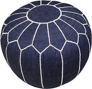 Housse de Pouf Marocain Repose-Pied en Tissu Jeans avec Motif Brodé Fait Main Bleu Foncé