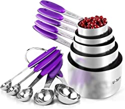 Measuring Cups : U-Taste 18/8 Stainless Steel Measuring Cups and Spoons Set of 10 Piece, Upgraded Thickness Handle(Purple)