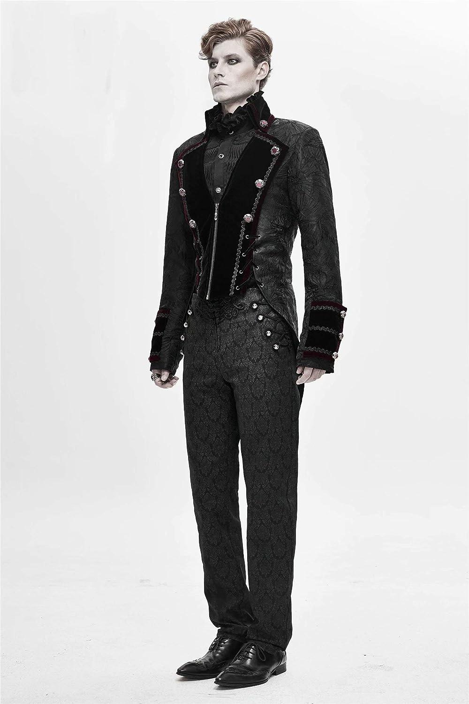Gothic Tailcoat Jacket for Men Gentleman Lapel Suit Coat with Jacquard Craft Plus Size