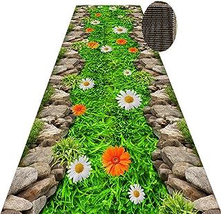 Non-Slip Carpet YANZHEN Hallway Runner Runner Rugs Cutable Non-Slip Washable 6mm Thick Stairs Doormat Blended Fiber, Green...