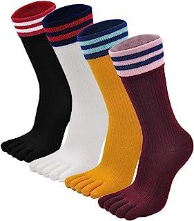 Calcetines de Dedos Mujer Calcetines Cinco Dedos de Deporte, Mujer Calcetines del Dedo del Pie, Calcetines de Algodón, suave y transpirable, 4/5 pares