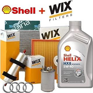 Kit Tagliando 4 filtros Wix + 5 lt Aceite Shell Helix HX8 5 W40 (WL7296 - WL7476, WF8412, WA9580, V3766)