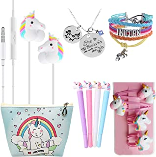 Ultimate Unicorn Gifts For Girls-Birthday Party Favors Gifts Unicorn 3D Earphone/Makeup Bag/Bracelet/Hair Ties/Pen-Kawaii