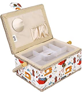 Sewing Basket,3 Colors Handmade Wood Storage Basket Fabric Crafts Sewing Kit Storage Box with Handle and Removable Tray for Sewing Accessories(2)
