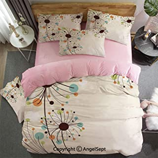 AngelSept 3 Piece Twin Bed Set Includes Reversible Comforter & Sheet Set Cute Spring Petals Pattern with Circular Shaped Colorful Florets Happy Season Imagecolor Super Soft Fade Resistant
