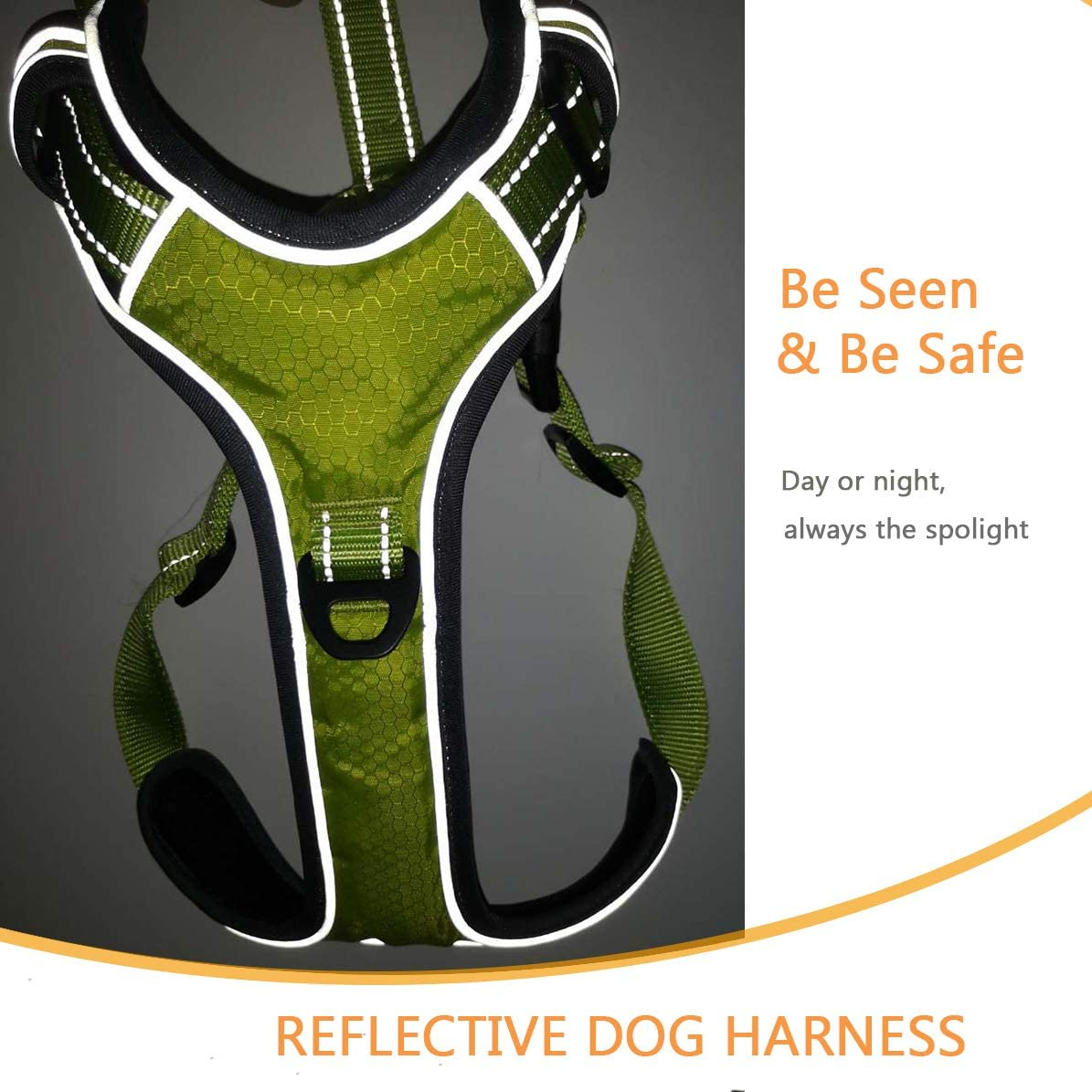 S, Naranja Arn/és Pecho Antitirones Ajustable,Arn/és Reflectante para Exteriores de 3M Sin tir/ón para Acampar Senderismo Visibilidad Nocturna PETTOM Arn/és para Perros Caminar