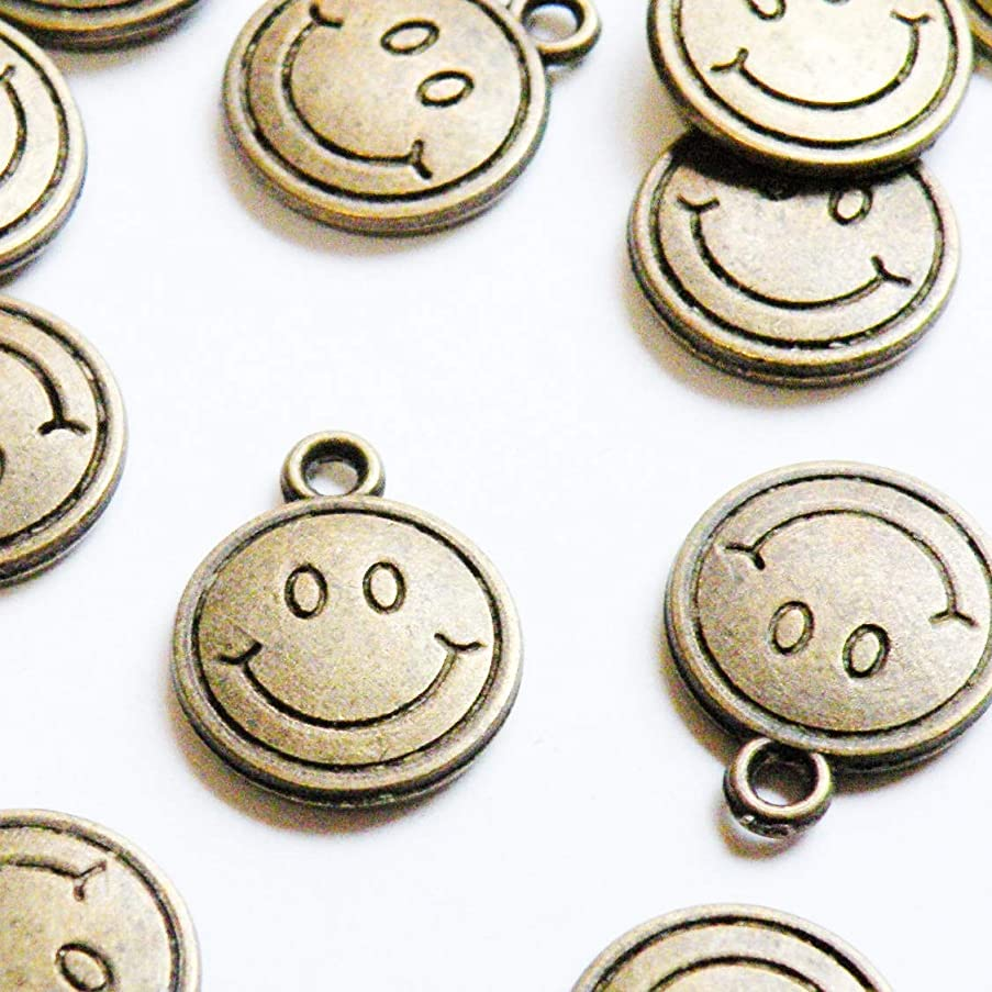 15 Smiley Face Emotion icon Symbol Charms Round Antique Bronze 15x12mm (CB210)