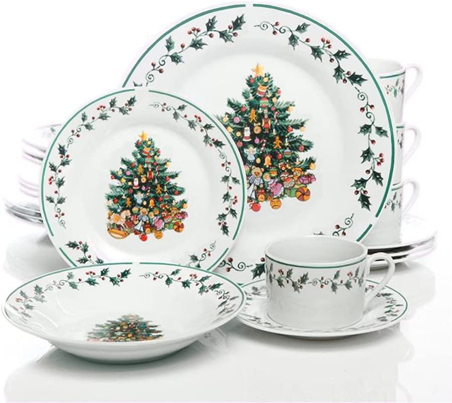Gibson Home Tree Trimming 20 Piece Dinnerware Set Christmas Theme