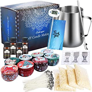 Kit de Fabrication de Bougies de Cire Bricolage,DIY Bougies, 50 mèches de Bougie,1 Pot de Fabrication,8 boîtes de Pots,56 ...