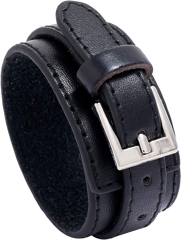 Heavstjer Punk Alloy Belt Buckle Bracelet Wide Leather Cuff Bracelet