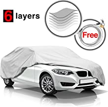 KAKIT Car Cover Waterproof All Weather Outdoor Car Cover Durable Protect Car Paint UV Protection with Free Anti-Theft Lock,Fits Sedan up to 185