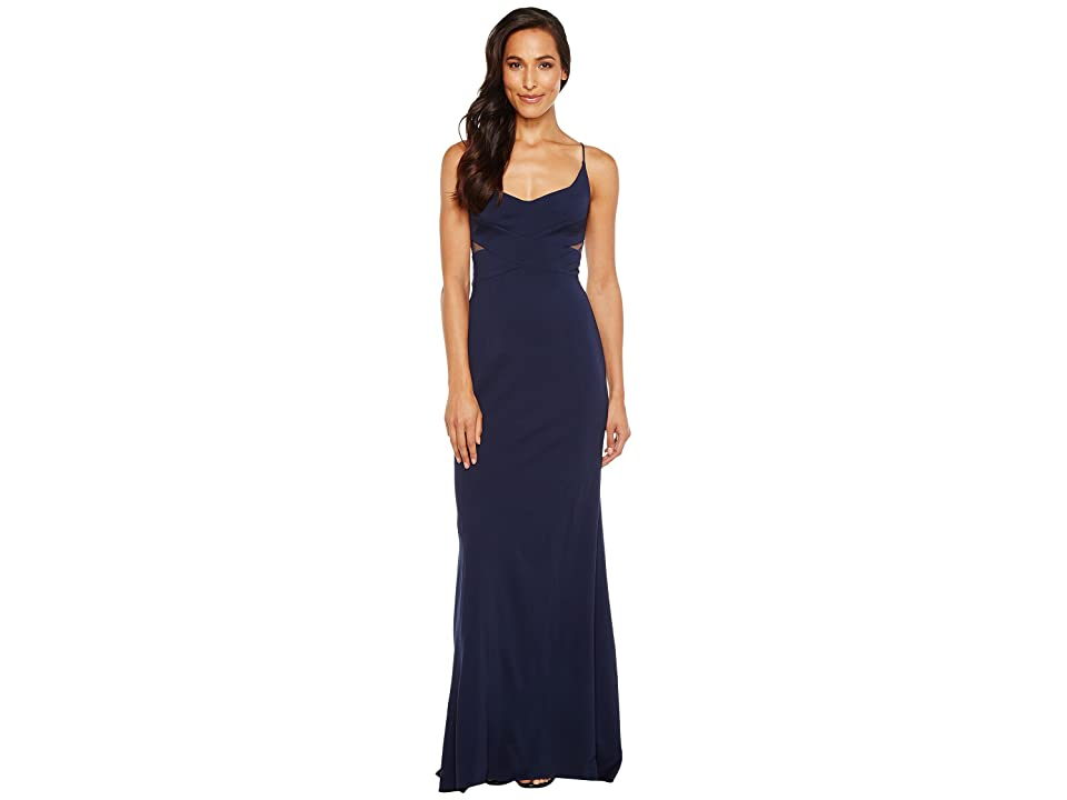 Adrianna Papell Jersey Modified Mermaid Gown (Midnight) Women