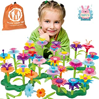 JoysToy Flower Building Toy Set, Garden Building Blocks Playset for Girls Boys, 98 PCS with 11 Colors Educational Kids Toys Creative for Decoration