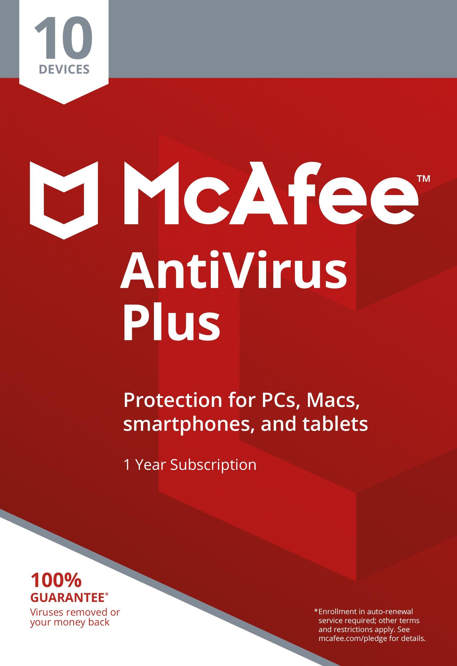 McAfee AntiVirus Plus 2021 | 10 Devices | Antivirus, Anti-Spam,...