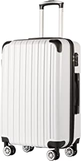 "COOLIFE Luggage Expandable(only 28"") Suitcase PC+ABS Spinner 20in 24in 28in Carry on (White Grid New, S(20in)_Carry on)"