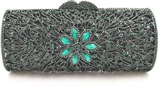 for Party Rhinestone Dinner Bag Lady Handmade Bags Elegant Banquet Clutch Bag Shoulder Chain Bag Dress Hard Shell Gift (Color : Green, Size : M)