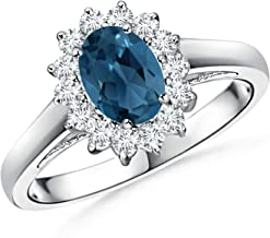 Princess Diana Inspired London Blue Topaz Ring with Halo (7x5mm London Blue Topaz)
