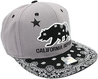 Embroidered California Republic Cotton Snapback Cap Pattern Bill, Grey, 100% Cotton
