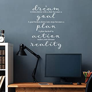"Vinyl Wall Art Decal - A Dream, A Goal, A Plan, Action, Dreams Reality - 26.5"" x 22"" - Trendy Inspirational Positive Mind ..."