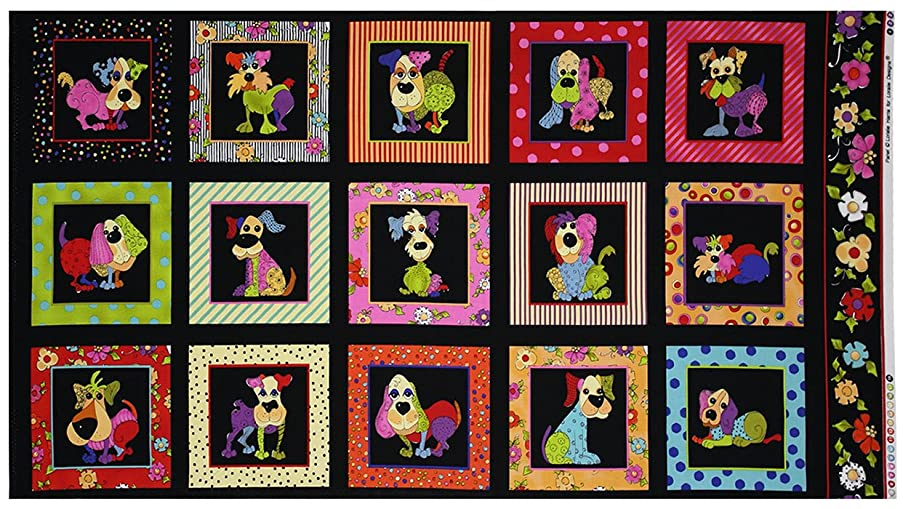 Dog Happy Fabric Panel by Loralie Designs 44