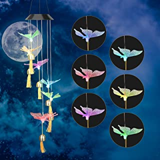 Luckit Solar Wind Chime Light, Led Color Changing Butterfly Wind Chime with Bell, Waterproof Hanging Solar Lamp for Home P...