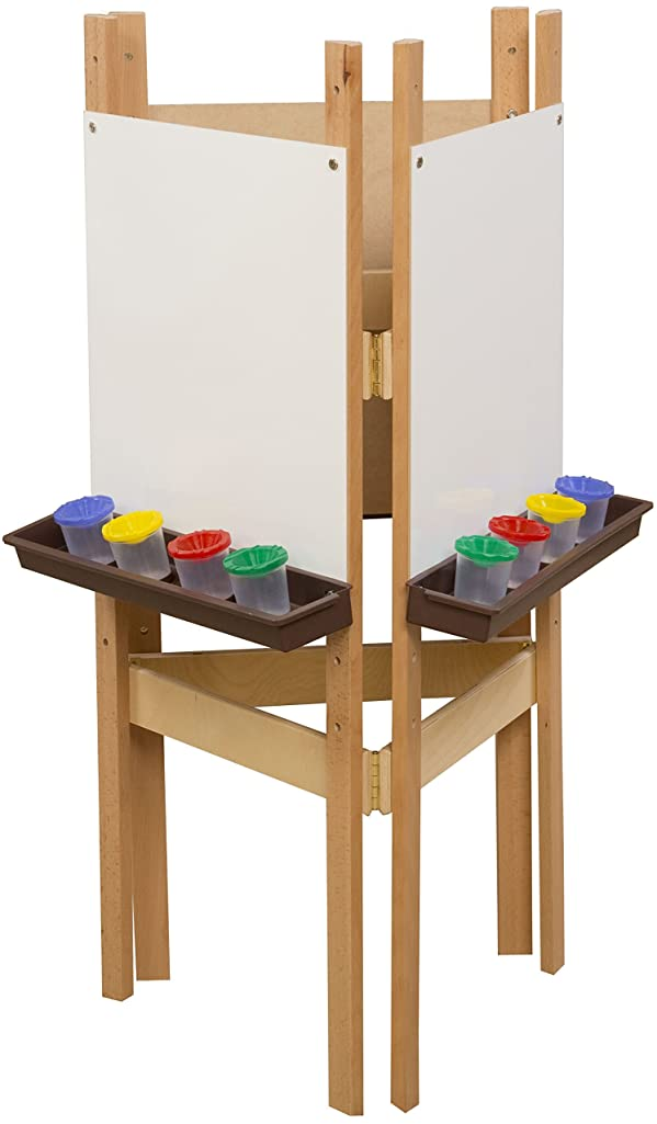 Wood Designs 18625BN 3-Sided Adjustable Easel with Marker Board and Brown Trays