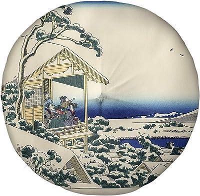 Artverse Katsushika Hokusai Tea House At Koishikawa Floor Pillow Round Tufted 26 X 26 White Home Kitchen