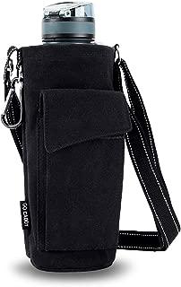 ASHOMO Water Bottle Holder for Walking, 50oz Water Bottle Carrier Pouch Bag with Adjustable Shoulder/Hand Strap 2 Pockets for Biking/Hiking/Travel/Camping, Black
