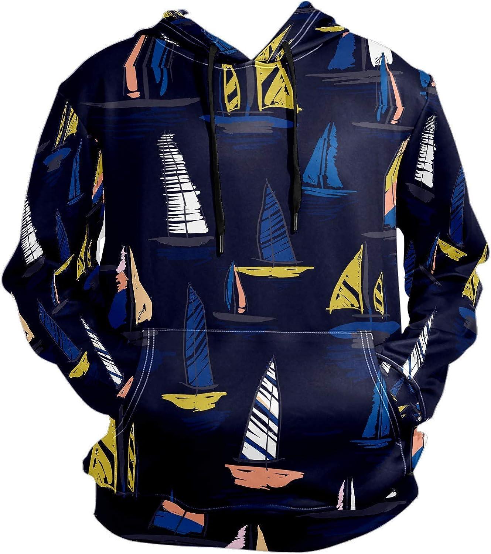 Men's Sport Hoodie Colorfule Nautical Sailing Boat Big and Tall Hoodies for Men Women Oversized Hooded Sweatshirt Hip Hop Pullover Hoodie Midweight Hood for Boys Girls
