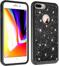 NVWA Compatible iPhone 7/6/6S/ 8 Plus Case Glitter Powder Bling [Heavy Duty] Tough Dual Layer 2 in 1 Rugged Rubber Silicone Hybrid Hard Plastic Soft TPU Back Protective Cover - Black