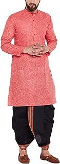Sojanya (Since 1958) Men's Coral Red and Black Cotton Dhoti Kurta Set