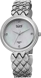 Burgi Women's Diamond Accented Watch - Mother-of-Pearl Dial with 4 Diamond Hour Markers On Stainless Steel Bracelet - BUR193