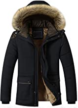 chouyatou Men's Winter Removable Hooded Frost-Fighter Sherpa Lined Midi Packable Parka Jackets