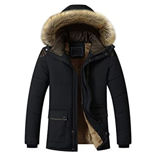 Men's Black Parka Jacket with Fur