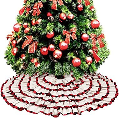 O-heart Burlap Christmas Tree Skirt, 48 inches 6 Layered Buffalo Check Plaid Pleated Ruffle Tree Skirt, Rustic Xmas Tree Farmhouse Holiday Decorations
