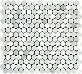 Thassos White Greek Marble Penny Round Mosaic Tile with Ming Green, Polished