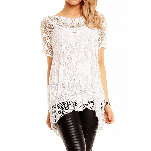 d36f09803dfb12 AHR Zaif & Hari Ladies Italian Lagenlook Knitted Crochet Lace Mesh Quirky  Loose High Low Layering