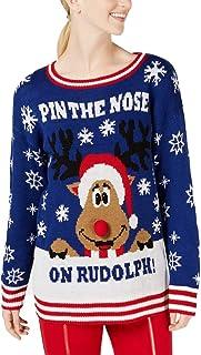 tbd Shulaa Girls Unisex Rudolph Print 3D Nose Pom Pom Christmas Jumper Boys Knitted Xmas Sweater Pullover