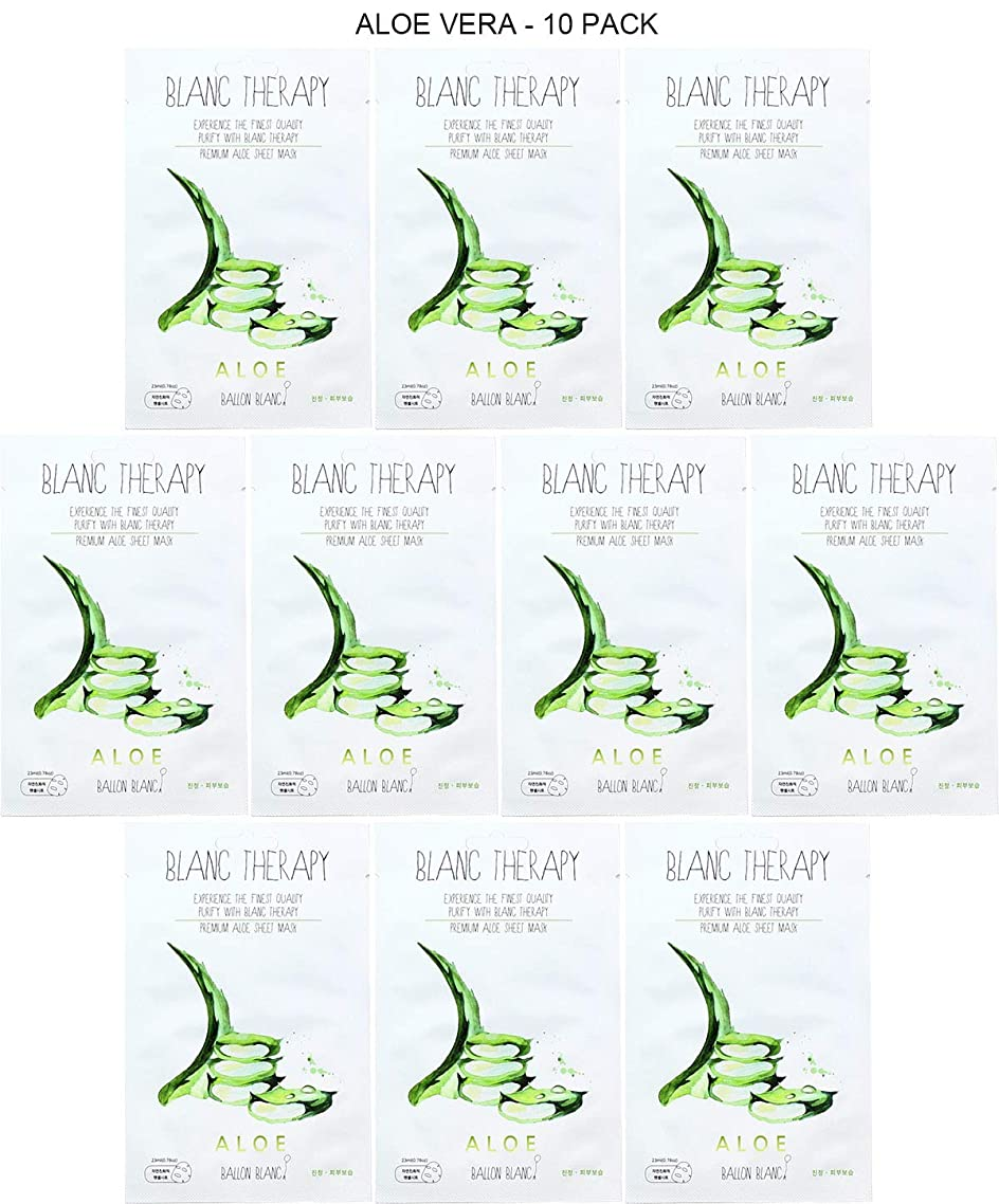 Ballon Blanc Korean Skin Care Face Mask Sheet Mask facial Mask Peel Off Disposable Sheet with Blanc Therapy (10 Sheets - Aloe)