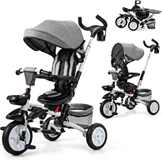 Baby Joy Baby Tricycle, 7-in-1 Kids Folding Steer Stroller w/Rotatable Seat, Adjustable Push Handle & Removable Canopy, Sa...