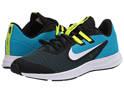 Nike Kids Downshifter 9 (Big Kid) (Black/White/Laser Blue/Lemon Venom) Boys Shoes