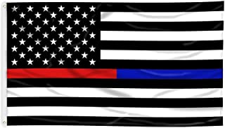 MAGGIFT Thin-Blue-Line American Police Flag 3x5 FT Embroidered Stars Flag Black White Blue (Blue+Red)