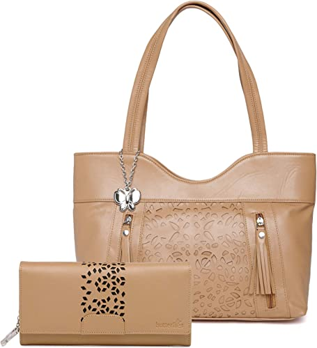 Women Hand Bag With Wallet Combo Beige BNS WB0751 Set of 2