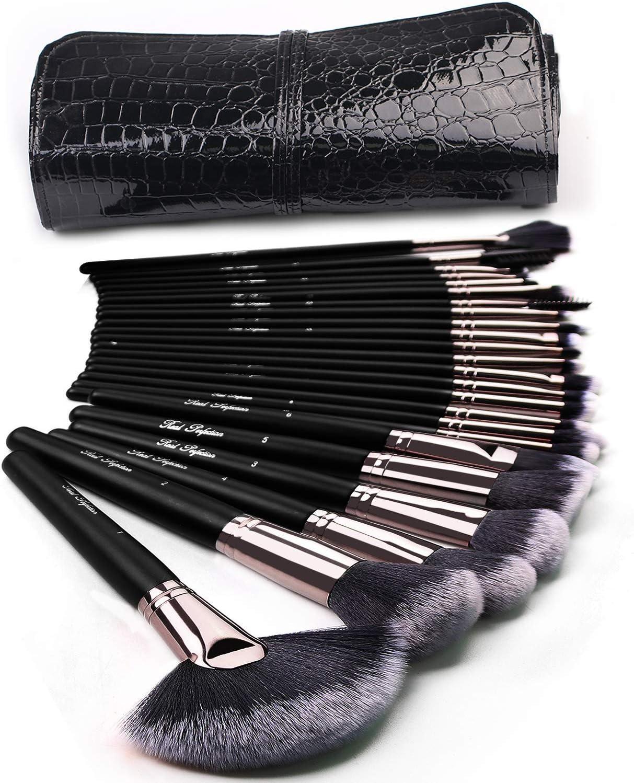 Amazon Com Makeup Brushes 24pcs Makeup Brushes Set Kabuki Foundation Blending Brush Face Powder Blush Concealers Eye Shadows Make Up Brushes Kit With Bag Beauty