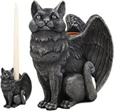 Ebros Gothic Angel Winged Cat Gargoyle Candle Holder Statue Medieval Renaissance Notre Dame Fantasy Gargoyles Angelic Cats Felines Sculpture Halloween Home Decor in Faux Stone Finish Resin
