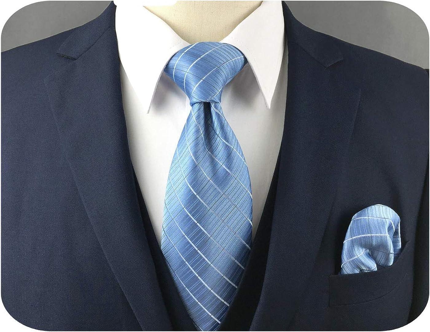 S&W SHLAX&WING Mens Ties Slate Blue Men Necktie Set Plaid